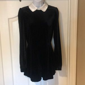 Fashion Union Velvet Playsuit with contrast collar